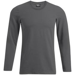 Vêtements Homme T-shirts manches longues Promodoro T-shirt slim manches longues grandes tailles Hommes gris