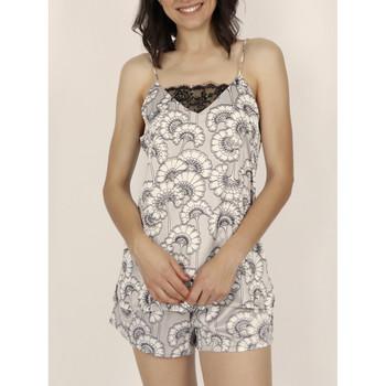 Vêtements Femme Pyjamas / Chemises de nuit Admas Pyjama short caraco White Flowers gris Gris
