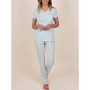 Vêtements Femme Pyjamas / Chemises de nuit Admas Tenue d'intérieur pyjama pantalon t-shirt Classic Stripes Bleu