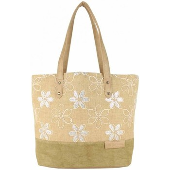 Sacs Femme Cabas / Sacs shopping Patrick Blanc Sac cabas épaule  toile délavée fleur beige Beige