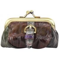 Sacs Femme Portefeuilles Fuchsia Petit porte monnaie fermoir  effet croco marron Multicolor