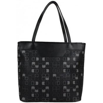 Sacs Femme Cabas / Sacs shopping Texier Sac cabas  motif imprimé fabriqué en France 25006 Noir