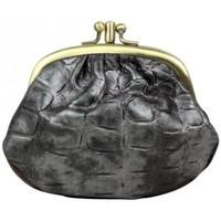 Sacs Femme Porte-monnaie Fuchsia Porte monnaie fermoir  effet croco gris et noir Multicolor