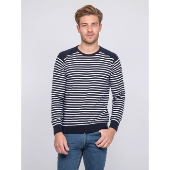 Vêtements Homme Pulls Ritchie Pull fin col rond rayé coton ADILO Bleu marine
