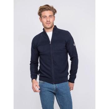 Vêtements Homme Gilets / Cardigans Ritchie Gilet zippé col montant coton ALEXIS Bleu marine
