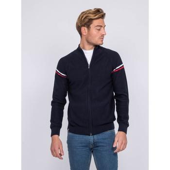 Vêtements Homme Gilets / Cardigans Ritchie Gilet zippé col montant coton AUGUSTIN Bleu marine