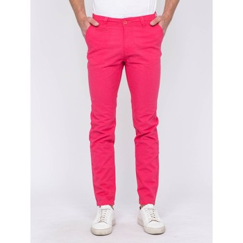 Vêtements Homme Chinos / Carrots Ritchie Pantalon chino lin CARLINAN Rouge framboise