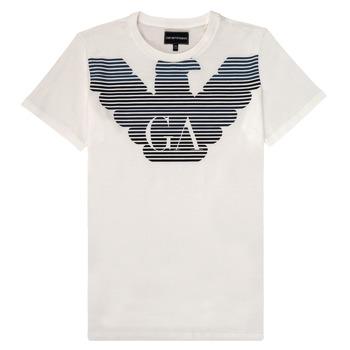 Vêtements Garçon T-shirts manches courtes Emporio Armani 6H4TQ7-1J00Z-0101 Blanc