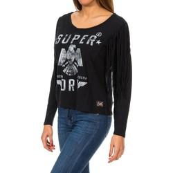 Vêtements Femme Pulls Superdry Colorado Fringe L / S Tee Noir