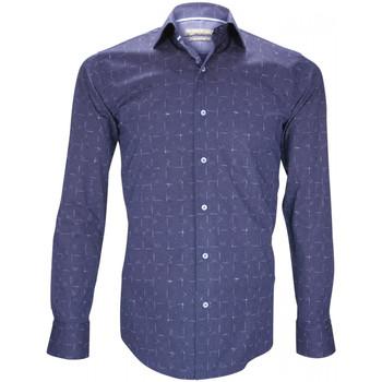 Vêtements Homme Chemises manches longues Emporio Balzani chemise fantaisie reggio bleu Bleu
