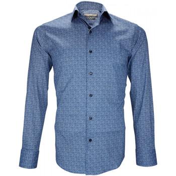 Vêtements Homme Chemises manches longues Emporio Balzani chemise stretch benedetto bleu Bleu