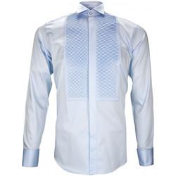 Vêtements Homme Chemises manches longues Andrew Mc Allister chemise a plastron windsor bleu Bleu