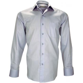 Vêtements Homme Chemises manches longues Emporio Balzani chemise tissu armure cosenza bleu Bleu