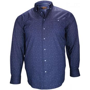 Vêtements Homme Chemises manches longues Doublissimo chemise sport norwich bleu Bleu