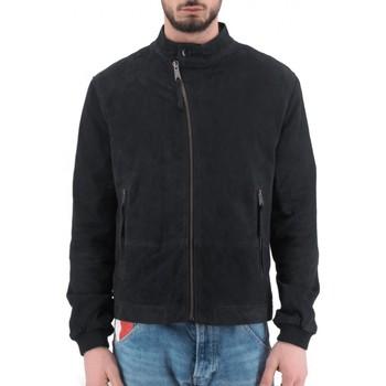 Vêtements Homme Blousons Montereggi Veste en cuir Madras bleue  MTRTT 8405 450 Bleu