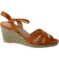 Chaussures Femme Sandales et Nu-pieds The Divine Factory Sandale Compensee QL3928 Camel