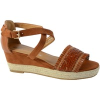 Chaussures Femme Sandales et Nu-pieds The Divine Factory Sandale Compensee QL3934 Camel