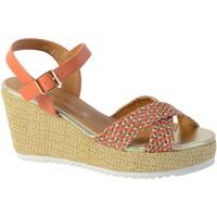 Chaussures Femme Sandales et Nu-pieds The Divine Factory Sandale Compensee QL3924 Corail