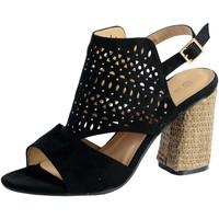 Chaussures Femme Sandales et Nu-pieds The Divine Factory Sandale Talon QL3907 Noir