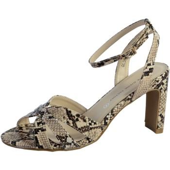 Chaussures Femme Sandales et Nu-pieds The Divine Factory Sandale Talon QL3921 Beige