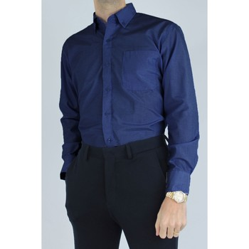 Vêtements Homme Chemises manches longues Kebello Chemise col boutons à rayures Taille : H Marine M Marine