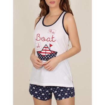 Vêtements Femme Pyjamas / Chemises de nuit Admas Pyjama short débardeur Paper Boat blanc Blanc