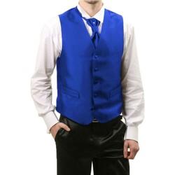 Vêtements Homme Gilets de costume Kebello Gilet cérémonie Taille : H Bleu S Bleu