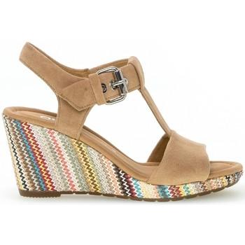 Chaussures Femme Sandales et Nu-pieds Gabor Sandale daim talon  compensé recouvert plateau Caramel