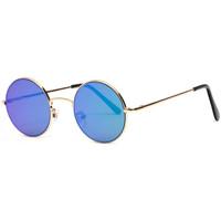Montres & Bijoux Lunettes de soleil Eye Wear Lunettes de Soleil Miroir Rondes Bleues Homme et Femme Ocky Bleu