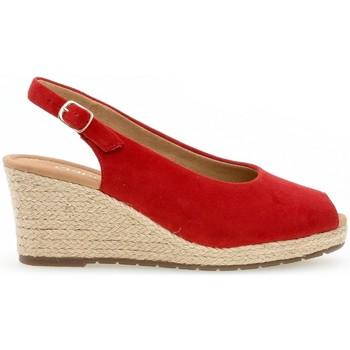 Chaussures Femme Espadrilles Gabor Escarpin daim talon  compensé recouvert plateau Rouge