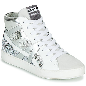 Chaussures Femme Baskets montantes Meline IN1363 Blanc / Argent