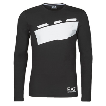 Vêtements Homme T-shirts manches longues Emporio Armani EA7 TRAIN GRAPHIC SERIES M EAGLE TEE LS Noir / Blanc