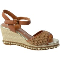 Chaussures Femme Sandales et Nu-pieds The Divine Factory Sandale Compensee Camel