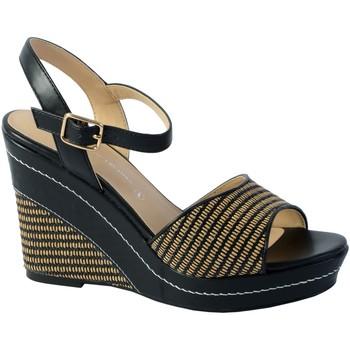 Chaussures Femme Sandales et Nu-pieds The Divine Factory Sandale Compensee Noir