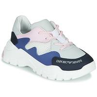 Chaussures Garçon Baskets basses Emporio Armani XYX008-XOI34 Blanc / Bleu