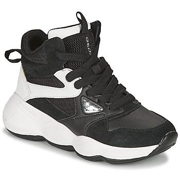 Chaussures Fille Baskets montantes Geox BUBBLEX Noir / Blanc