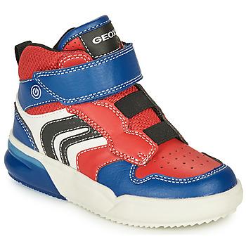 Chaussures Garçon Baskets montantes Geox GRAYJAY Rouge / Bleu