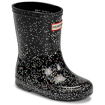 Chaussures Fille Bottes de pluie Hunter KIDS FIRST CLASSIC GLITTER Noir
