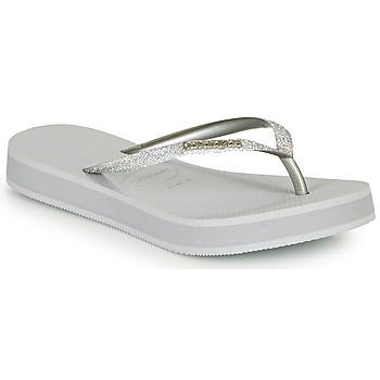 Chaussures Femme Tongs Havaianas SLIM FLATFORM GLITTER Argent