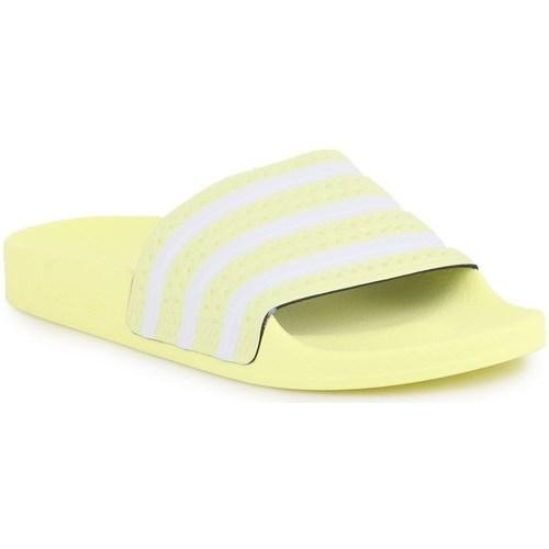 Chaussures Femme Claquettes adidas Originals Adilette W Blanc,Jaune