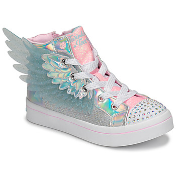Chaussures Fille Baskets montantes Skechers TWI-LITES 2.0 Argenté / Rose / LED