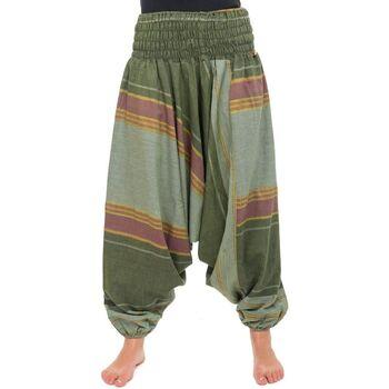 Vêtements Femme Pantalons fluides / Sarouels Fantazia Pantalon sarouel vert sari brilliant du nepal alladin indien Vert