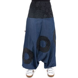 Vêtements Femme Pantalons fluides / Sarouels Fantazia Sarouel jean  elastique imprime Tirkha Bleu