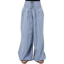 Vêtements Pantalons fluides / Sarouels Fantazia Pantalon ethnique chic zen ceinture corset bleu chine Livyo Bleu