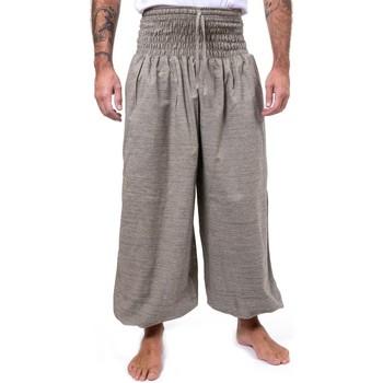 Vêtements Pantalons fluides / Sarouels Fantazia Pantalon saroual large elastique June rayures Blanc / écru