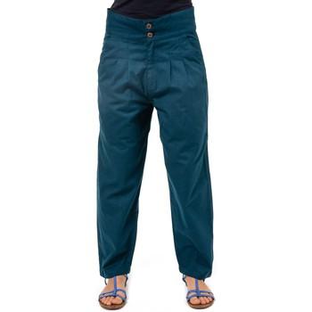 Vêtements Femme Chinos / Carrots Fantazia Pantalon carotte large simply chic Shaili Bleu