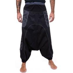Vêtements Pantalons fluides / Sarouels Fantazia Pantalon sarouel baggy droit mixte noir gris Noir