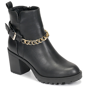 Chaussures Femme Bottines Only BARBARA-9 PU HEELED CHAIN BOOT Noir
