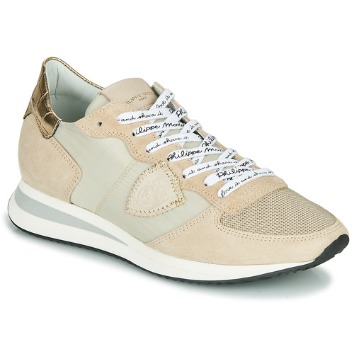 Chaussures Femme Baskets basses Philippe Model TROPEZ X MONDIAL CROCO Beige