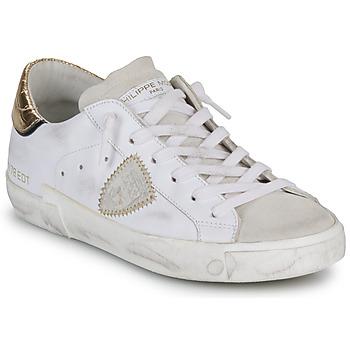 Chaussures Femme Baskets basses Philippe Model PARIS X VEAU CROCO Blanc / Doré